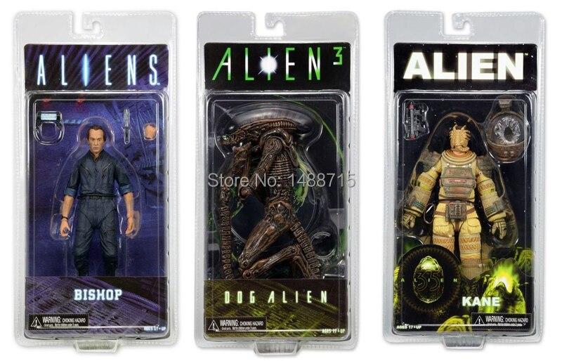 "3pcs Classic Sci-fi Movie <font><b>Aliens</b></font> <font><b>Series</b></font> 3 <font><b>Dog</b></font> <font><b>Alien</b></font> + Kane Space Suit + Bishop 7"" NECA <font><b>Action</b></font> <font><b>Figure</b></font> Toys Original Box"