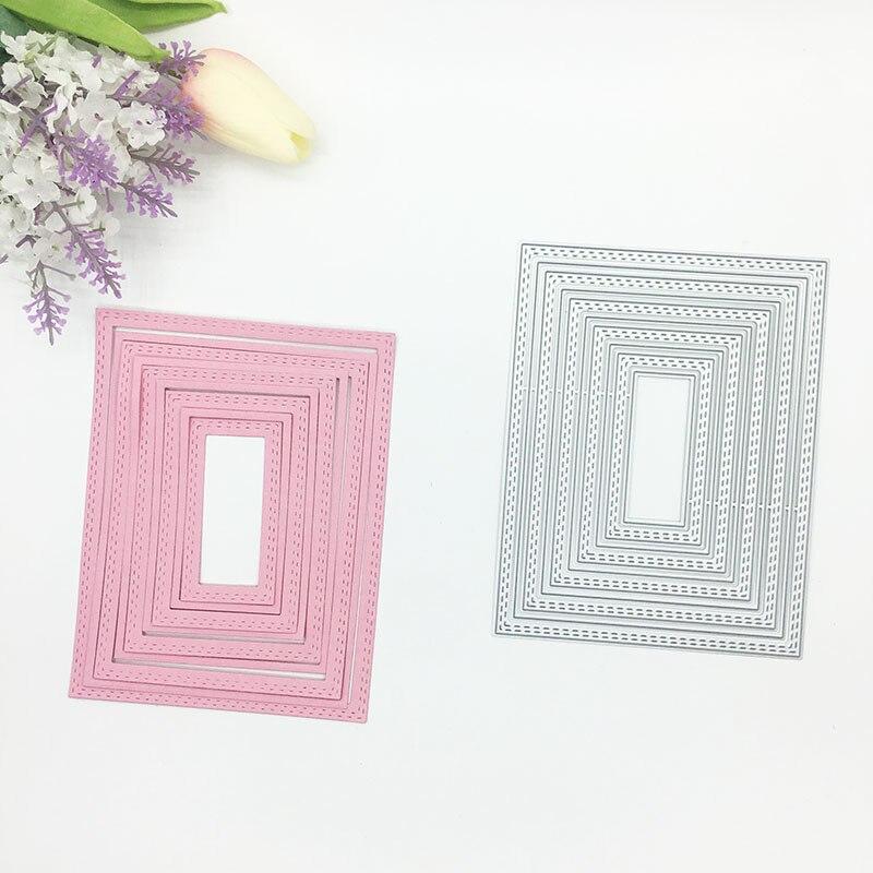 Julyarts 5pcs Rectangle Circle Die Metal Cutting For DIY Scrapbooking Stencil Paper Embossing Card Making Craft Cut