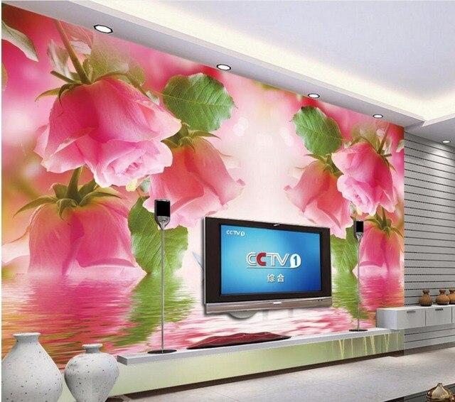 3d wallpaper custom mural photo Romantic swan pink roses painting 3d ...