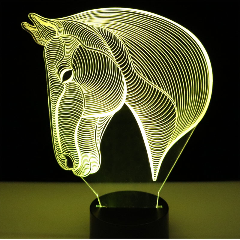 3D LED Night Lights Horse Head Side with 7 Colors Light for Home Decoration Lamp Amazing Visualization Optical Illusion Awesome