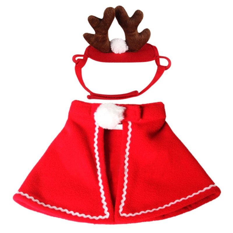 Wholesale Cute Cat Dog Costumes cloaks mantle with buckhorn suit Headband set clothes Pet Puppy Product Christmas For Pet