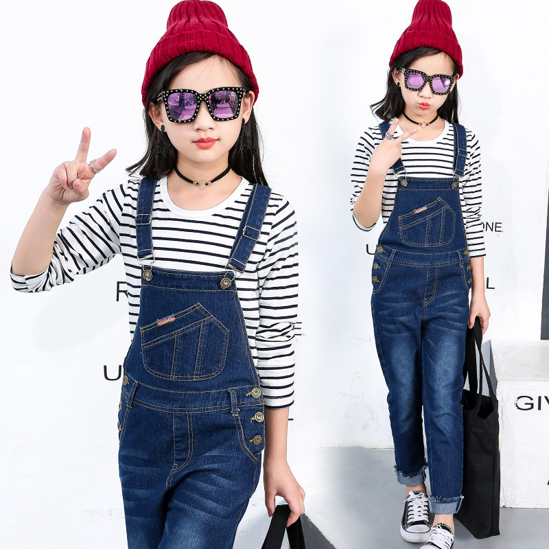 2018 New Kids Denim Overall for Girls Children Autumn Suspenders Pencil Jeans Kids Jumpsuit Girls Denim Overalls High Quality loose style autumn denim overalls for kids girls 2016 new style children girl blue jeans elegant jumpsuit female denim bib pants