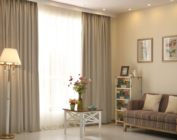 alta calidad de algodn de lino alto blackout ventana cortinas para ropa de cama sala bule color caf valance cortinas en cortinas de casa y jardn en - Cortinas Lino