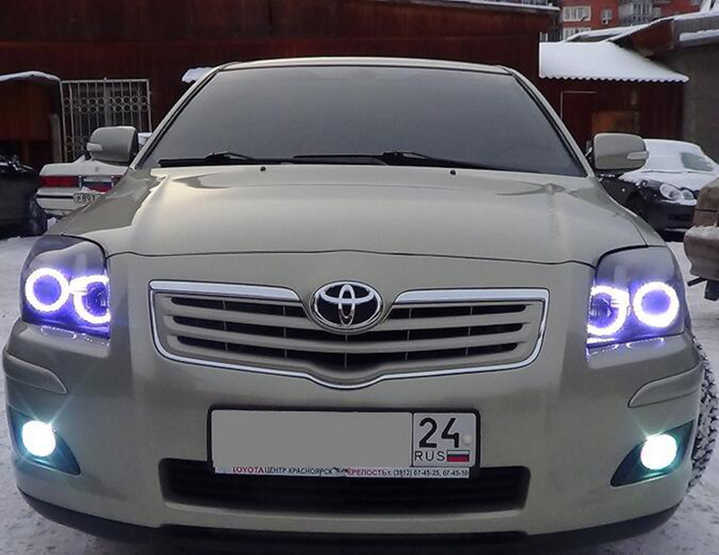 For Toyota Avensis T250 2003 2004 2005 2006 2007 2008 2009 RGB LED headlight rings halo angel demon eyes with remote controller for mazda 3 2003 2004 2005 2006 2007 2008 2009 rgb led headlight rings halo angel demon eyes with remote controller