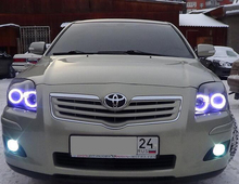 For Toyota Avensis T250 2003 2004 2005 2006 2007 2008 2009 RGB LED headlight rings halo angel demon eyes with remote controller