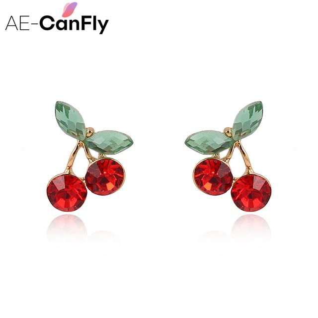 AE-CANFLY koreański Temperament moda pop czerwony kryształ słodkie cherry kolczyki owoce spadek kolczyki, w którym znajduje się, jak i biżuteria