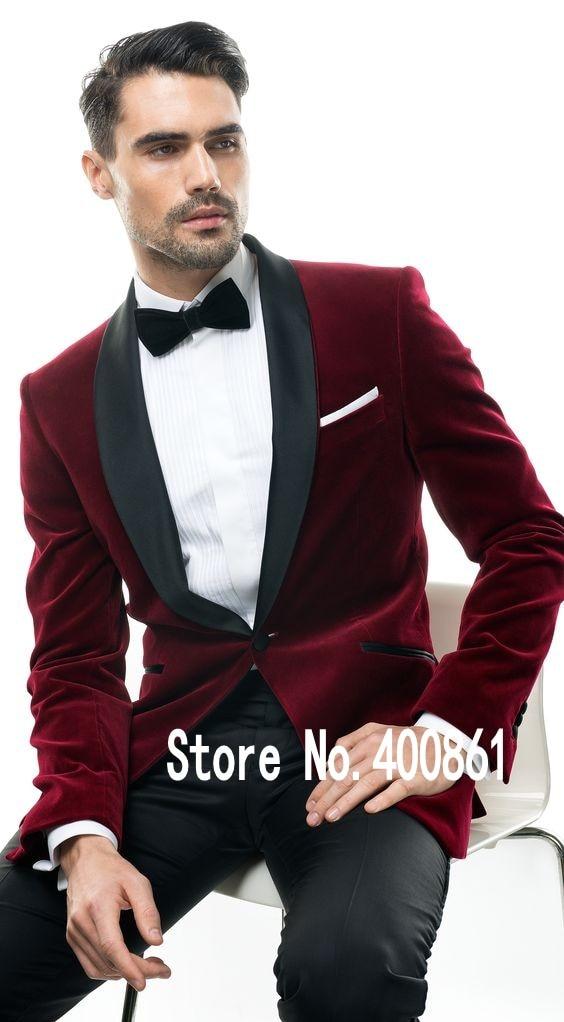 High Quality Dark Red Velvet Mens Suits Groom Tuxedos Groomsmen Wedding Party Dinner Best Man Suits (Jacket+Pants+Tie) K:2266