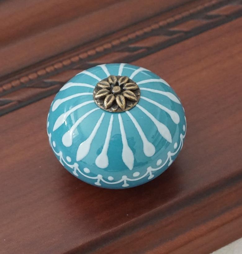 Керамическая ручка/ручки для комода белого и синего цвета, ручки для шкафа/уникальная ручка для кухонной двери, мебельная фурнитура - Цвет: Синий