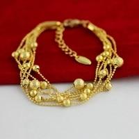6 capas Cuentas cadena oro amarillo lleno de pulsera mujer Accesorios
