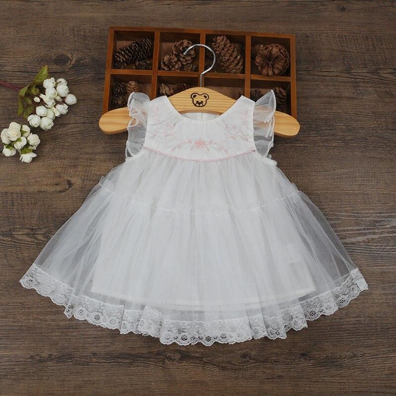 En gros 5 pcs/lot bébé filles vêtements manches bouffantes princesse Style robe de fête de mariage robe d'anniversaire pour les filles robe de bal 0-2 T