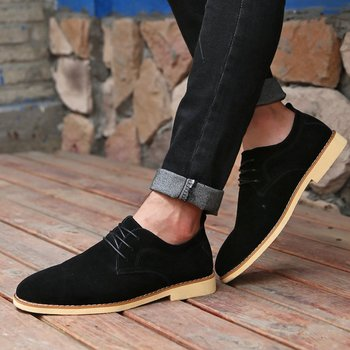 Pop Tide Nice Autumn New Fashion Genuine Leather Men Shoes Suede Lace-up Flats Shoes Low Men Loafers Breathable Business Shoes