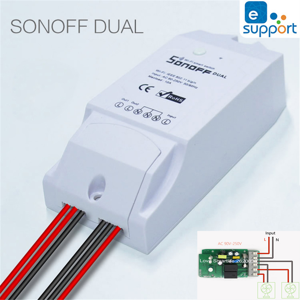 Itead Sonoff Dual Smart Home 2 Way Wifi Timing Switch,APP Wireless Remote Control DIY Timer Switch Home Automation Ewelink 2PCS sonoff wireless wifi switch universal smart home automation module timer diy wifi remote control switch on off wireless timer