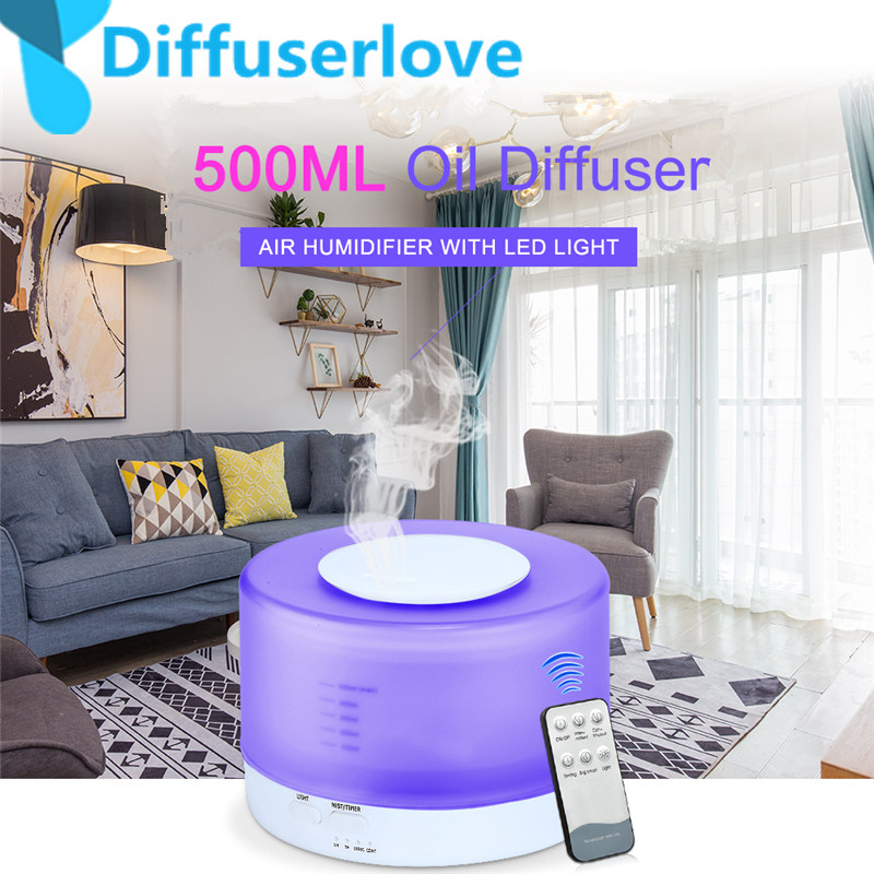 Diffuserlove Remote Control 500ML Ultrasonic Air Humidifier With LED Lights Aromatherapy Essential Oil Aroma Diffuser(China)
