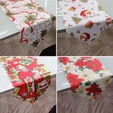 1 шт. 36x180 см Рождественский коврик-дорожка скатерть Рождественский Флаг украшения для домашней вечеринки Санта Клаус гобелен Красные ковровые дорожки на стол