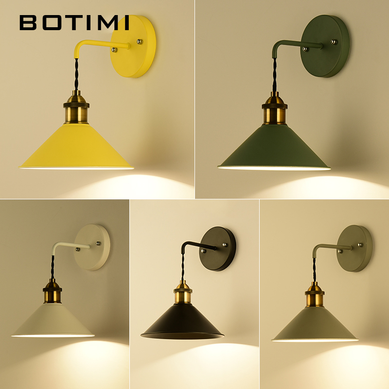 BOTIMI LED Wall Lamps Retro Wall Sconce Colorful Metal Wall lights Bedside Lamp For Home Reading Lighting Fixtures