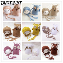Baby Photography Props Hat+Owl Dolls Crochet Knitted Shower Gift Newborn Fotografia Accessories Infantil Studio Shoot Photo