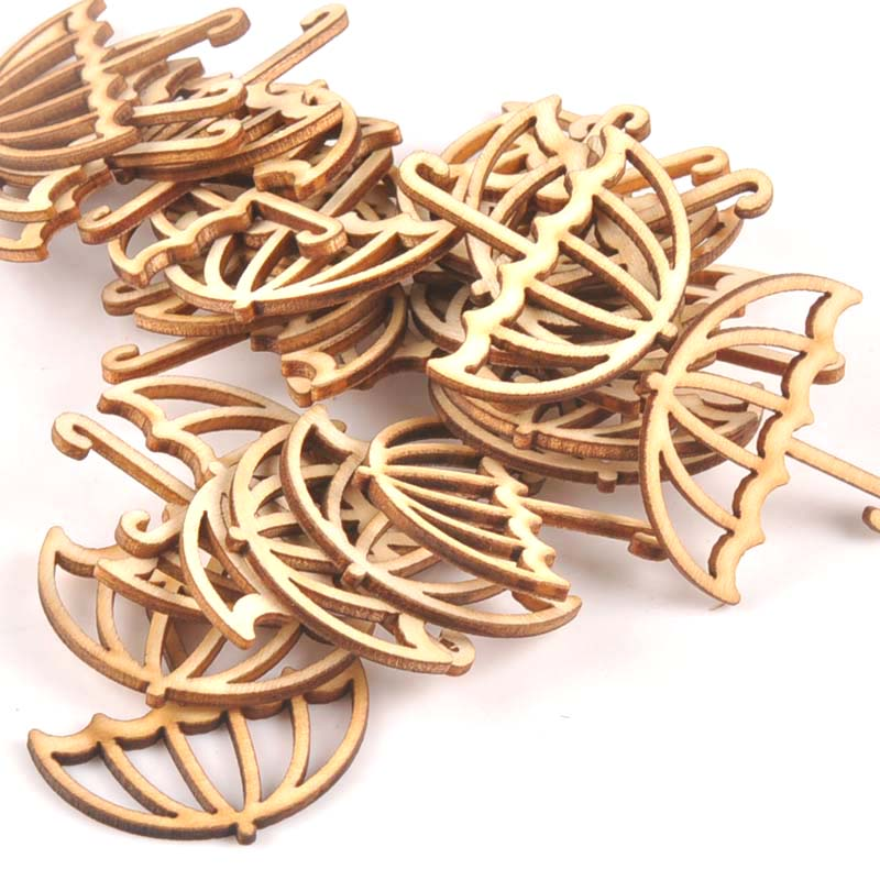 15Pcs Wooden Ornament Umbrella Shape For DIY Scrapbook Accessories Wood Slices Handmade Crafts Home Decoration 39x40mm M1703
