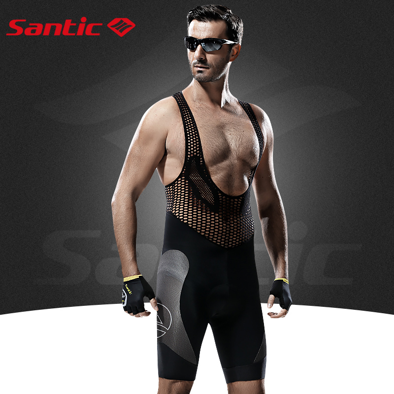 Santic Men's Profession Cycling Bib Shorts Coolmax Padded Men's Cycling Bicycle Bike Bib Shorts 3D Braces Pants S-3XL M5C05051H