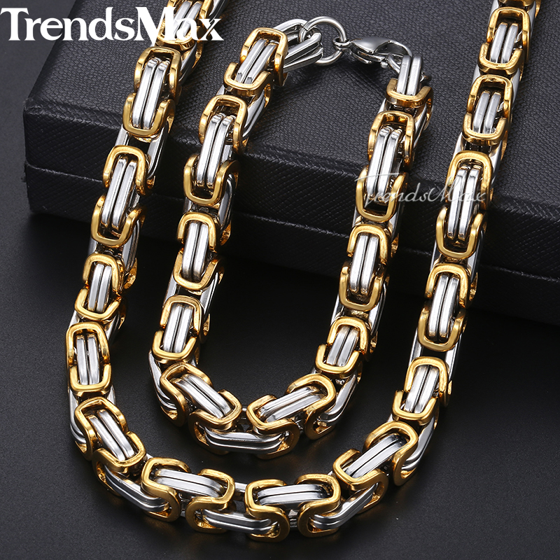 Men Jewelry Set Stainless Steel Bracelet Necklace For Men Gold Silver Byzantine Box Chain Dropshipping Jewelry 2018 8mm KKS03 thick gold chain set wholesale men s jewelry white black crystal buckle necklace bracelet stainless steel jewelry sets