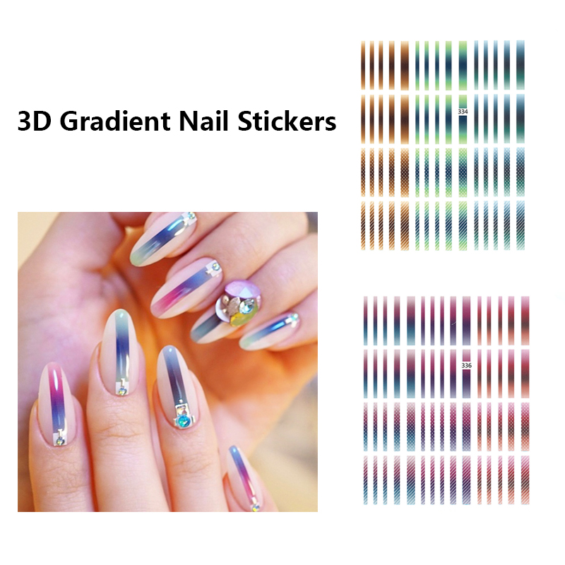 3D Gradient Nail Stickers Striped Lines Shape Mixed Patterns Adhesive Multi-sizeTransfer Decals Nail Art Decoration