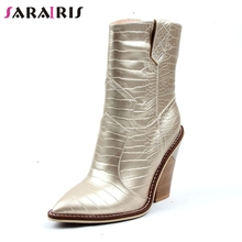SARAIRIS brand new big size 34-42 pointed toe ladies high heels slip on shoes woman casual party autumn winter ankle boots 2019 fedonas brand socks boots women high heels round toe party weddding shoes woman autumn winter high slip on stretch boots pumps