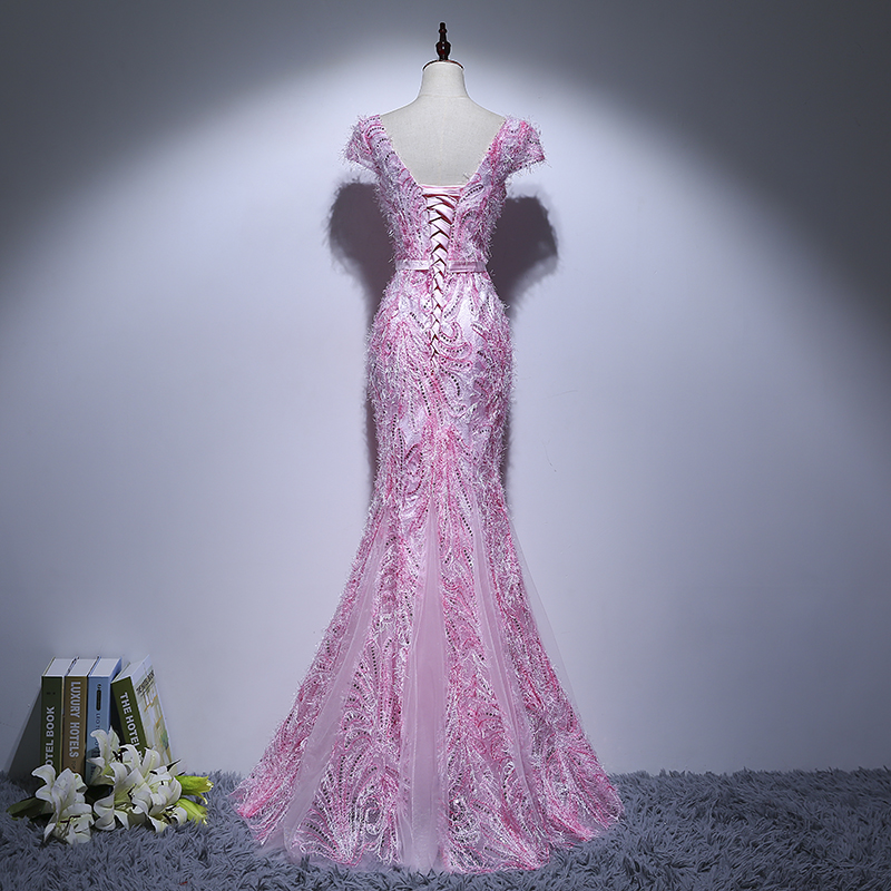 Sexy Pink Mermaid Prom Dresses Long For Teens 8th Grade Prom Evening
