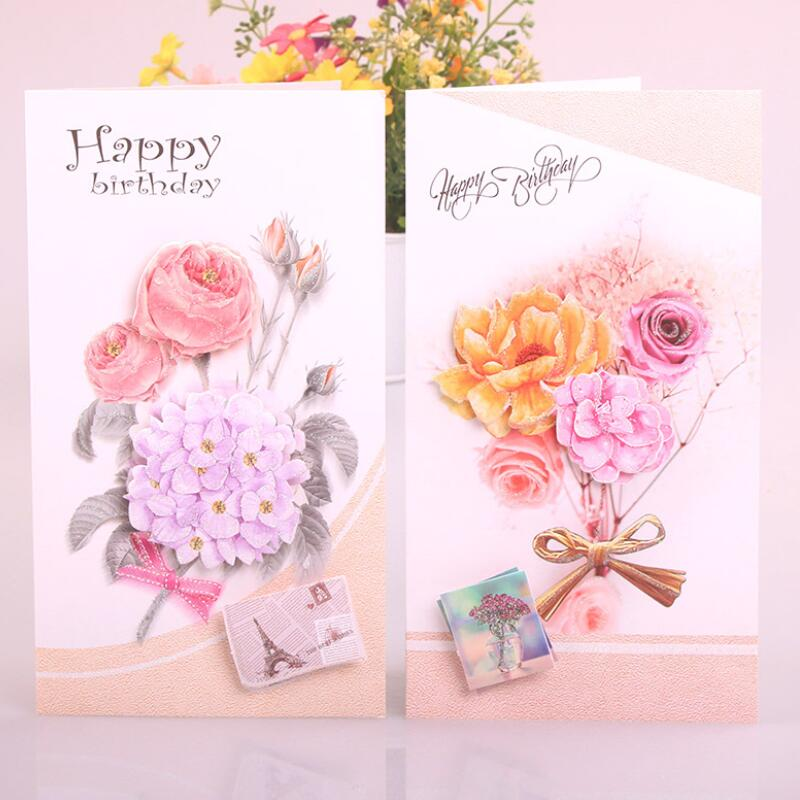 8 Pcslot Cute Birthday Cards Flower Printing Children Birthday Gift