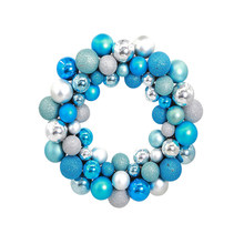 1pc Christmas Wreath Ball Ornaments Front Door Window Hanging Xmas Decoration for Holiday Event Use (Silver and Blue)(China)