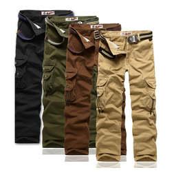 Весна Осень Горячая Мода Регулярные штаны-карго мужские хлопковые повседневные военные мульти-карманные мужские тактические брюки