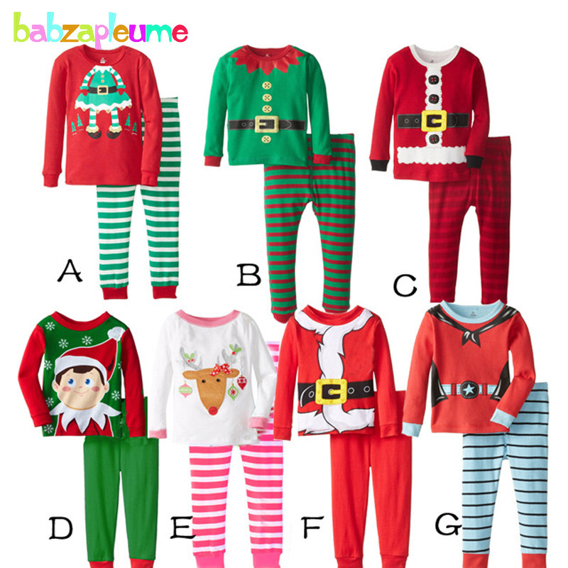 2PCS 0 5Years Christmas Style Children Clothing Sets Cartoon Cotton Baby Girls Boys Pijamas Kids Clothes