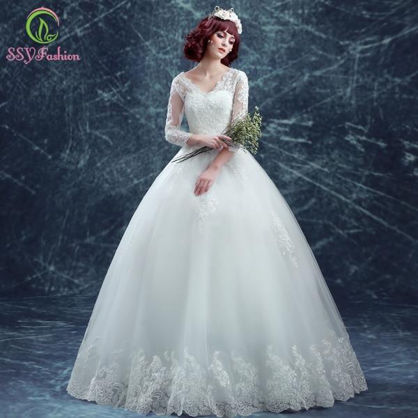 Aliexpress.com : Buy Vestido De Noiva SSYFashion Luxury Lace Deep V ...