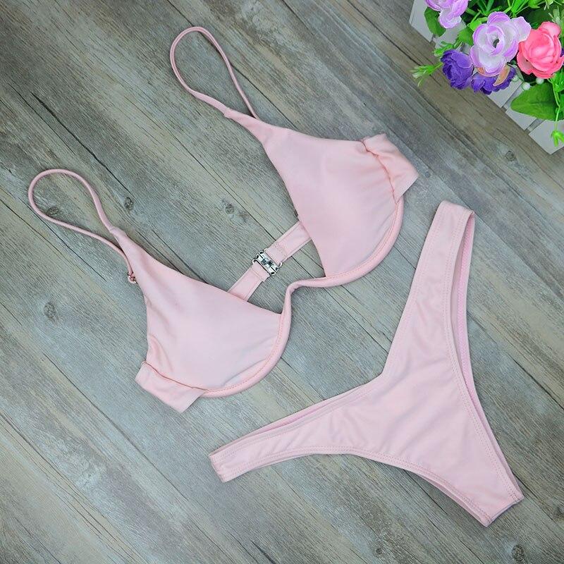 2019 New high cut thong bathing suit high waist swimsuit Solid swimwear women Brazilian Biquini swim beach micro bikini set