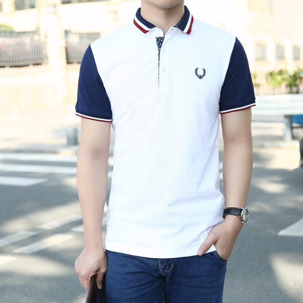 Y Abliss New Men Polo Shirt Contrast Color Short Sleeve