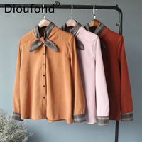 Dioufond Bow Patchwork Ladies Blouses Casual Long Sleeve Shirt Cotton Preppy Style Blouse Solid Camisa Feminina