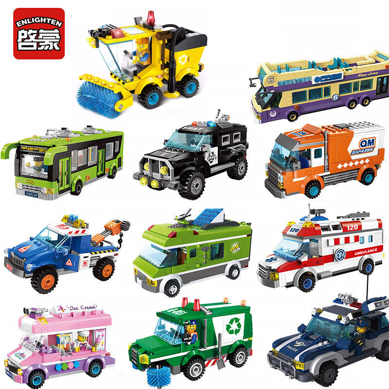 City Bus Car Truck Vehicle Model Building Blocks City Sanitation Garbage Delivery Truck Figure Enlighten Bricks For Kids Gift 2017 enlighten city series garbage truck car building block sets bricks toys gift for children compatible with lepin