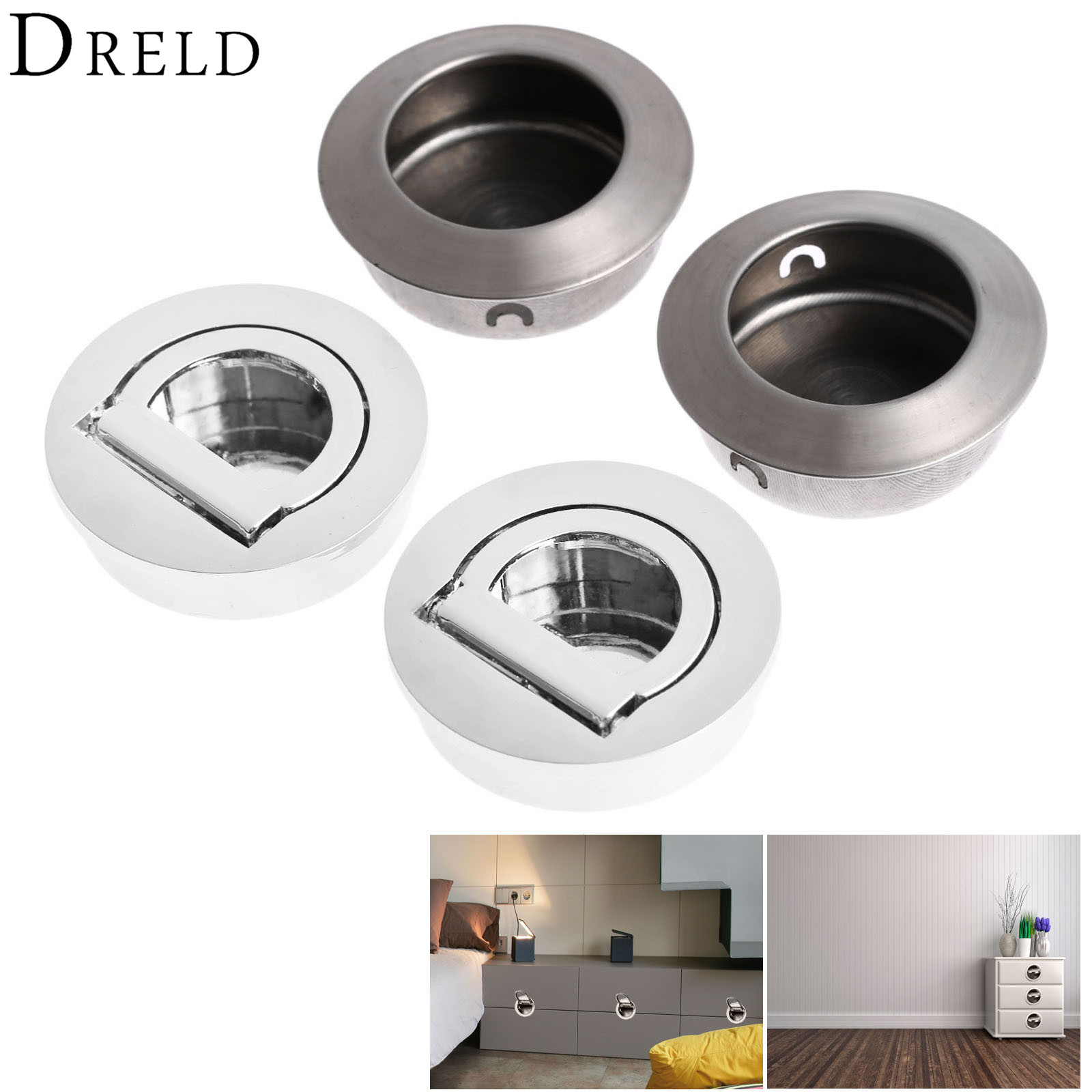 DRELD 2Pcs Furniture Cabinet Hidden Handles Stainless Steel Invisible Door Handle Circle Drawer Wardrobe Knob Furniture Hardware