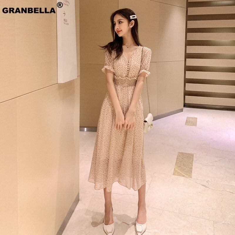 Ins Hot Vintage Polka Dot Women Dress Stylish Short Sleeve Fit And Flare Ruffles Female Chiffon Dress 2019 Summer Midi Vestidos