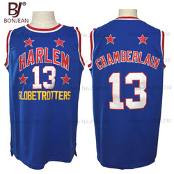 2017 New Cheap Wilt Chamberlain #13 Harlem Globetrotters Throwback Basketball Jersey Blue Retro Stitched Basket Shirts