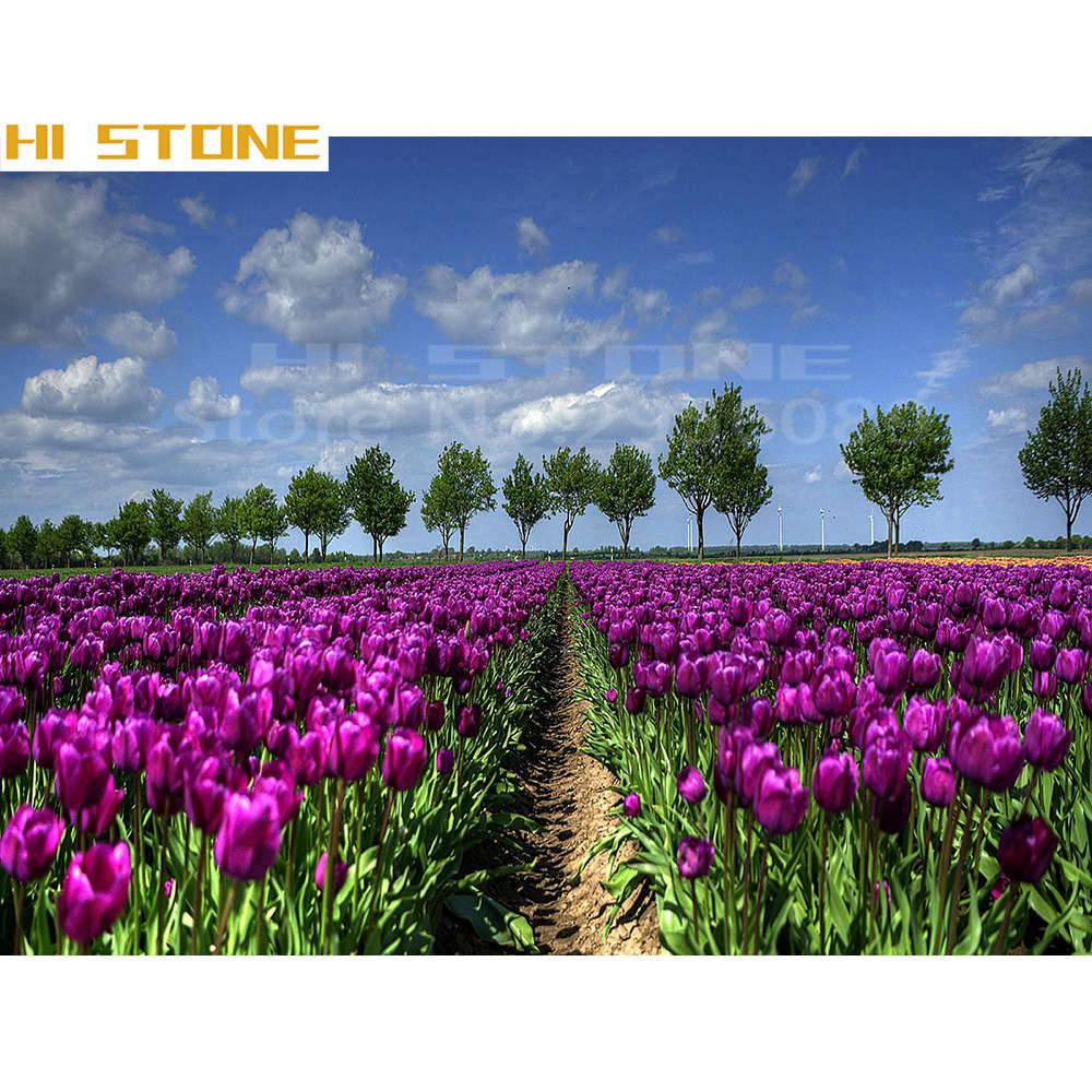 Вышивка тюльпанов в поле