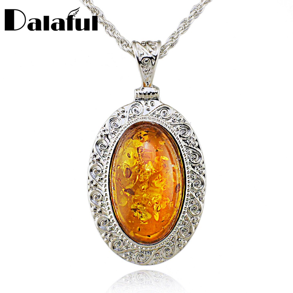 Silver Oval Baltic Faux Amber Honey Carved Exquisite Tibet Silver Pendant Necklace Fashion Jewelry L00501