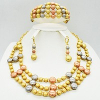 2019 Fashion African Beads Jewelry Set for Women Exquisite Flash Dubai Gold Color Nigerian Wedding Bridal Cheap Wholesale