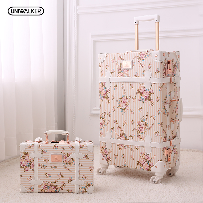 UNIWALKER 2PCS/SET Vintage Floral PU Travel Luggage,13 20 22 24 26 Women Retro Trolley Luggage Bags On Universal Wheels uniwalker 2022 24 26 drawbars