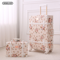 UNIWALKER 2PCS/SET Vintage Floral PU Travel Luggage,13 20 22 24 26 Women Retro Trolley Luggage Bags On Universal Wheels