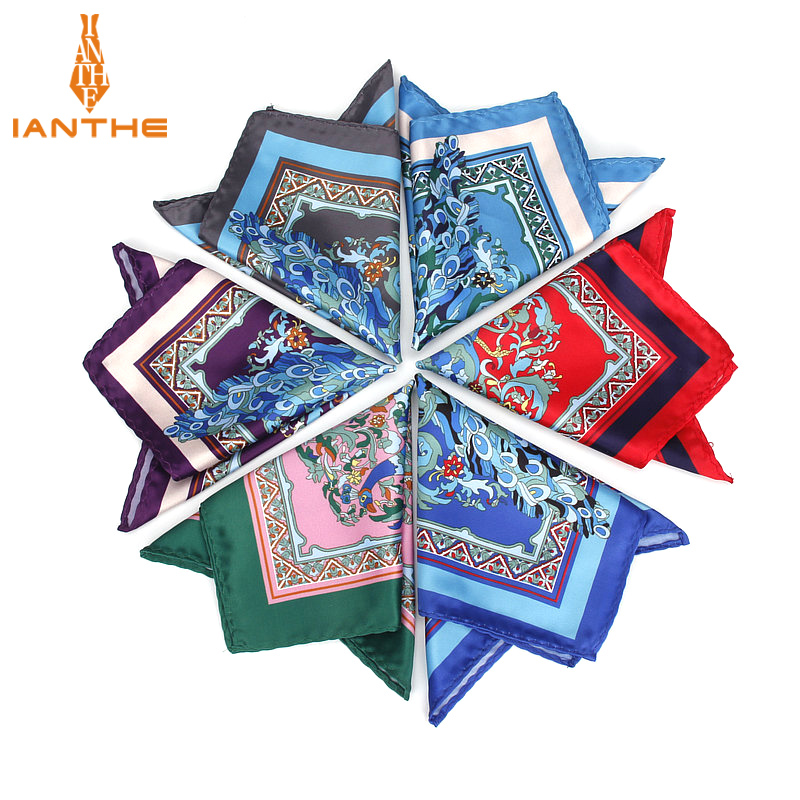 2018 Men's Brand Handkerchief Vintage Birds Pocket Square Soft Hankies Wedding Party Business Artificial Silk Chest Towel Gift