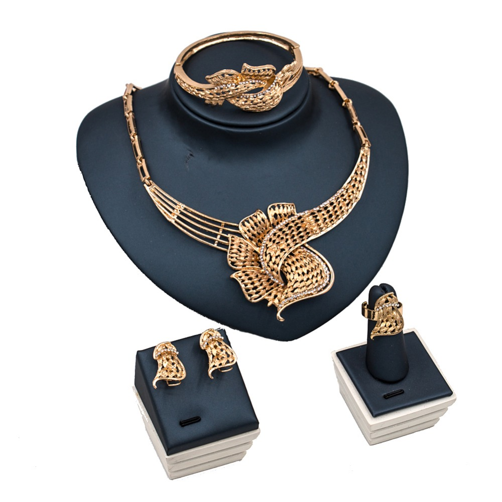 LAN PALACE indian jewelry set gold color ladies jewellery set earrings necklace ring bracelet free shipping