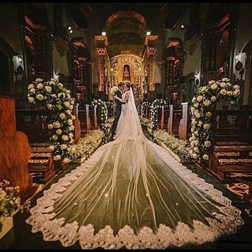 Romantique 5 M mariage voile cathédrale une couche dentelle appliqué Long voiles de mariée avec peigne femme marier cadeaux 2019 nouveaux accessoires