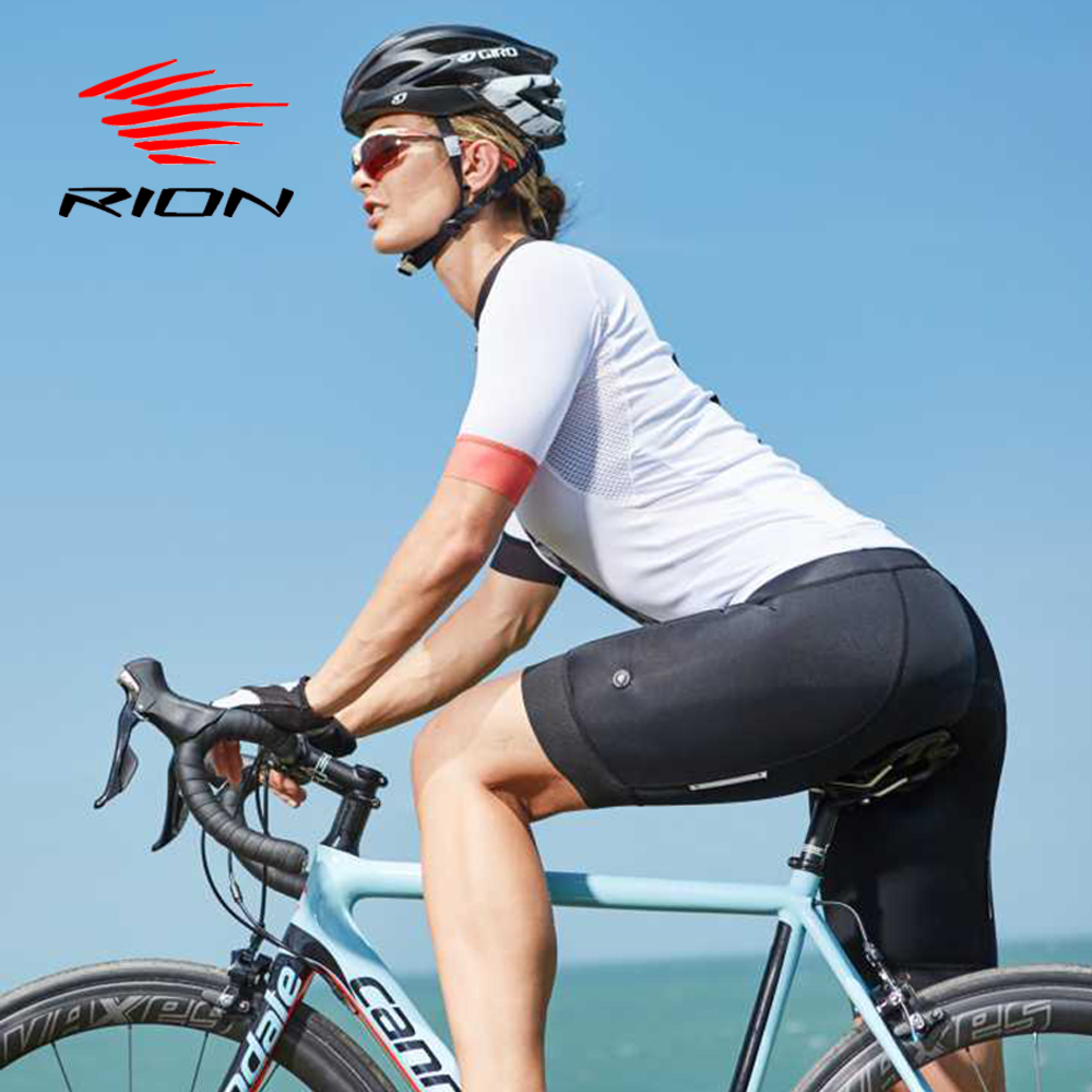 RION Women Cycling Shorts Spandex Jersey Underwear Mountain Bike MTB Downhill Reflective Safety Pad Tights Bicycle Women Shorts