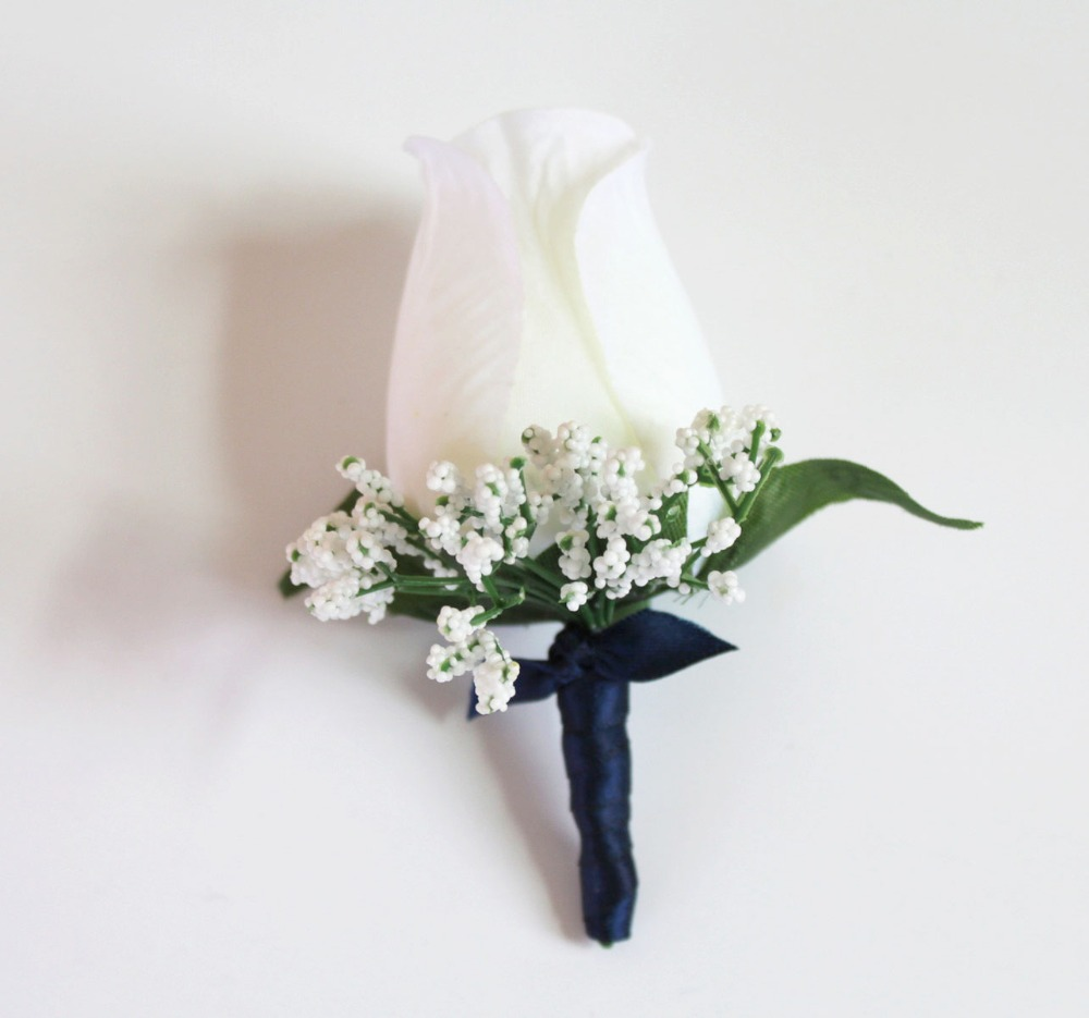 babys breath Navy blue satin wrapped ivory Rose Boutonniere wedding Corsage Groom Best man Prom Party Quinceanera Graduation