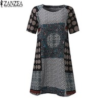M 5XL ZANZEA Womens Crew Neck Random Floral Print A Line Cotton Midi Shirt Dress Summer