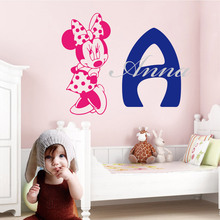 Custom Name Of Minnie Mouse Kids Wall Sticker For Home Livingroom Decoration Accessories For Bedroom Nursery Decal Dekoration